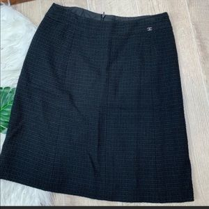 Chanel Black & Blue Tweed Knit Midi Pencil Skirt
